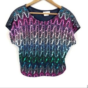 Vintage Rainbow Sequin Cropped Blouse